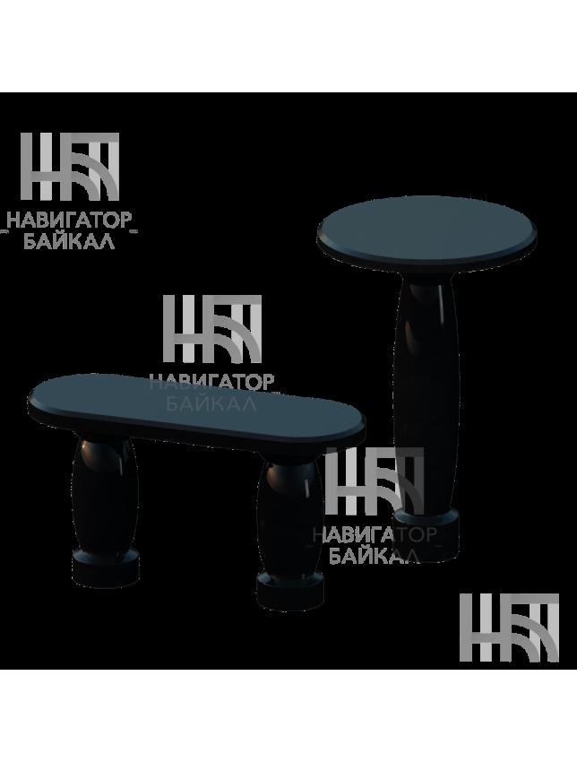 Стол и лавка из черного гранита SL-3
