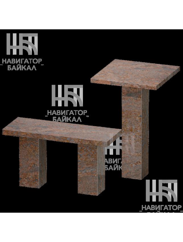 Стол и лавка из красного гранита SL-1