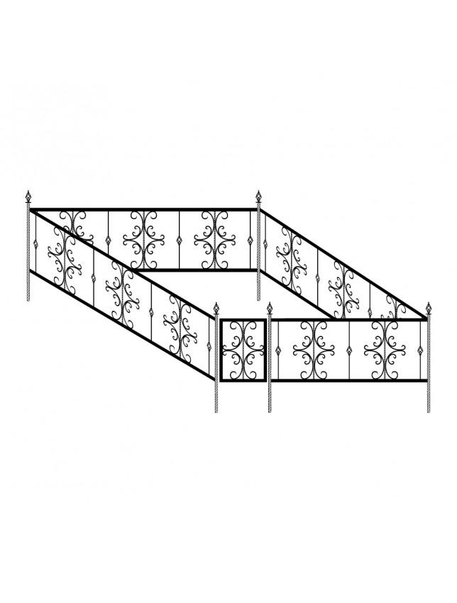 Кованная могильная ограда (тип 4)