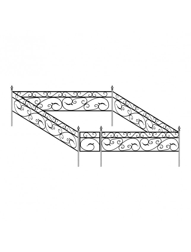 Кованная могильная ограда (тип 3)